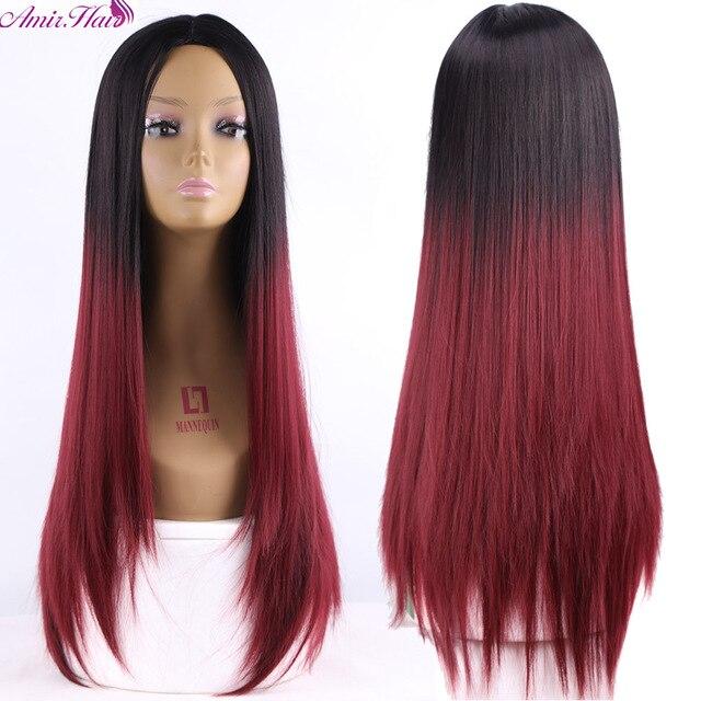 Ombre Deux tons Synthétique Foncé Rouge Cheveux