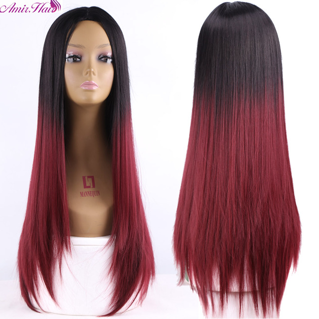 Ombre Two tone Synthetic Dark Red Hair Wigs Natural Cheap Long Straight Heat Resistant Silver Wigs For Black Women Womens Wig