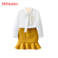 Mihaklev Fashion Toddler Girl Clothing Autumn 2017 White Shirts And Skirts 2PCS Litter Girls Set Suits