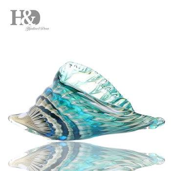 H & D 8.9 ''El Üflemeli Seashell Kabuklu Heykel Cam Murano Sanat Tarzı Okyanus Hayvan Paperweight Ev Ofis Dekoratif figürleri