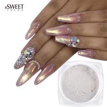 1g ayna tırnak tozu akrilik parlatma krom Pigment manikür kabuk Dip toz Glitter toz Nail Art süslemeleri LAB02 1