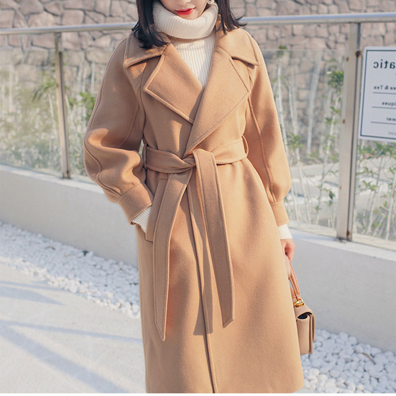 Winter Woolen   Coat   Female Wool Jacket   Coats   Women Loose warm With Belt Lantern Sleeves Ladies office work wear elegant Overcoat