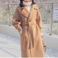 Winter Woolen Coat Female Wool Jacket Coats Women Loose warm With Belt Lantern Sleeves Ladies office work wear elegant Overcoat