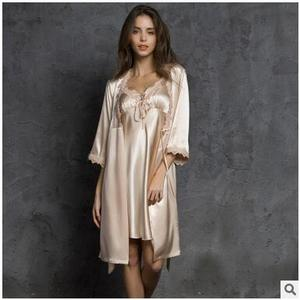 Image 2 - High Quality New 2020 Spring Summer Three Quarter Sleeve Silk Robes Set Sexy V neck 2 Pieces Home Suit Dressing Gowns For Women