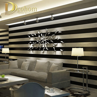High Quality Mediterranean Style Wallpaper Blue Embossed Flocking Vertical Stripes Non Woven Home Decoration Wall Paper