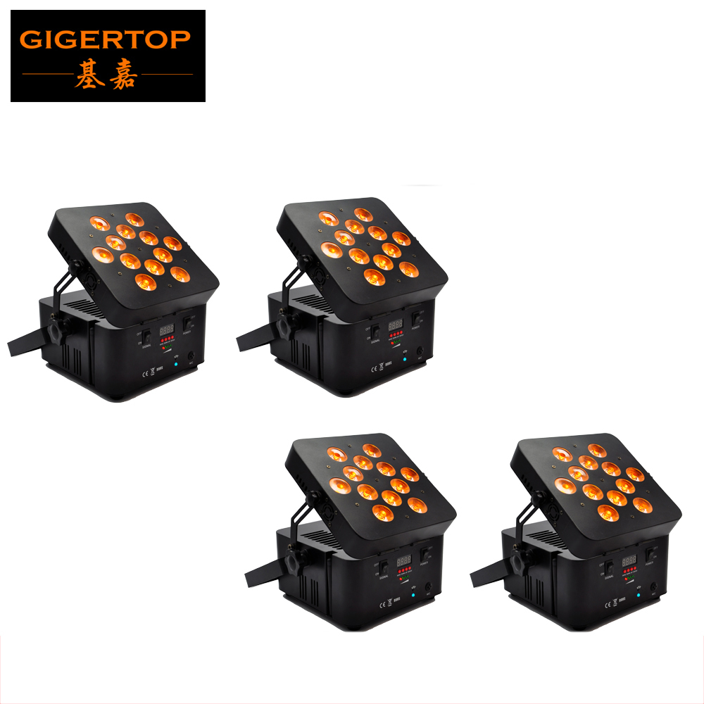 Excelente 4 unids/lote libertad Par luz RGBWA LAVADO DE 5 en 1 12x15 W Taiwán Tianxin LED inalámbrico batería recargable PAR latas LED alimentadas