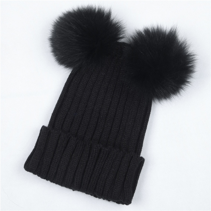 418981db0 US $4.98 |Women's Winter Hat Chunky Knit Double Pom Pom Beanies Cap Faux  Fur Pompom Hats Women Headgear Ear Warmer Bobble Bonnet Gorros-in Men's ...