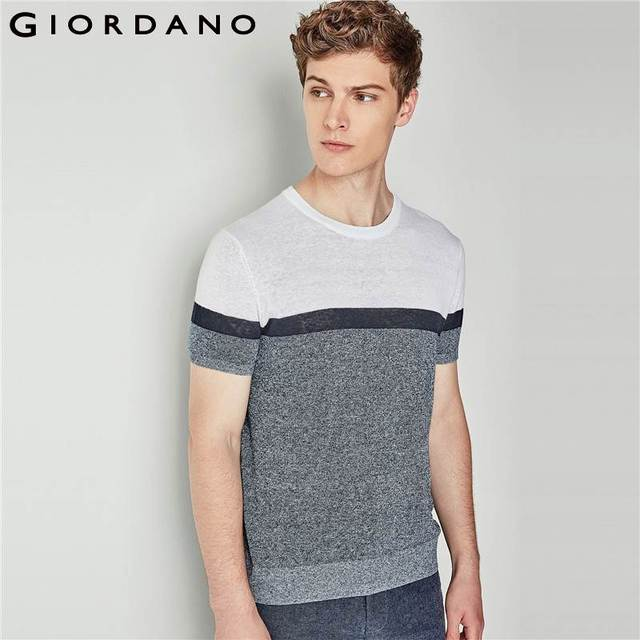 55ebd4b44888 Giordano Men Tee Linen Cotton Knitted T Shirt Crewneck Short Sleeve T-shirts  Homme Solid