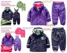 Enfant intérieur intempéries étanche costume garçons et filles ski tenues amovible costume Dans PU tenues peut être porté seul
