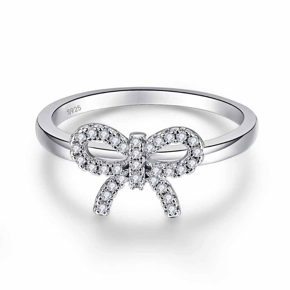 أصيلة 925 فضة القوس عقدة خواتم الاصبع للنساء كريستال خواتم الخطبة مجوهرات الزفاف هدايا