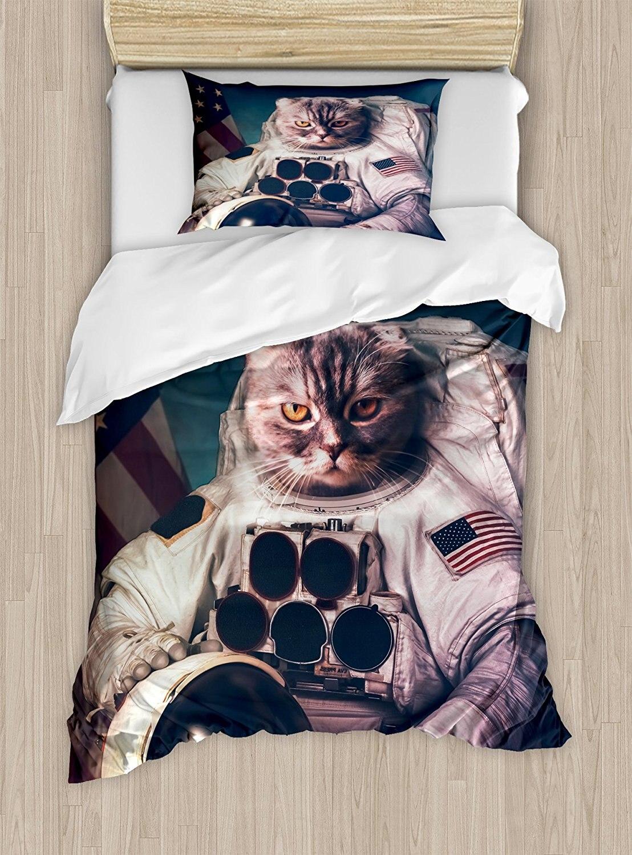Space Cat Duvet Cover Set Vintage Image Astronaut Kitty with American Flag Patriot Animal Decor Bedding Set Dark Blue