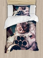 Space Cat Duvet Cover Set Vintage Image Astronaut Kitty with American Flag Patriot Animal Decor Bedding Set Dark Blue