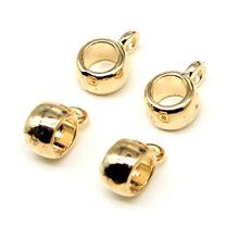 WYSIWYG-Cuentas espaciadoras brillantes para fabricación de joyas, abalorios de Color oro KC, 4x6x8mm, 50 Uds.