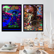 Abstract Blacklight Paintings Art Psychedelic Trippy Poster Prints Modern Wall Canvas Wall Pictures For Living Room Home Decor(China)