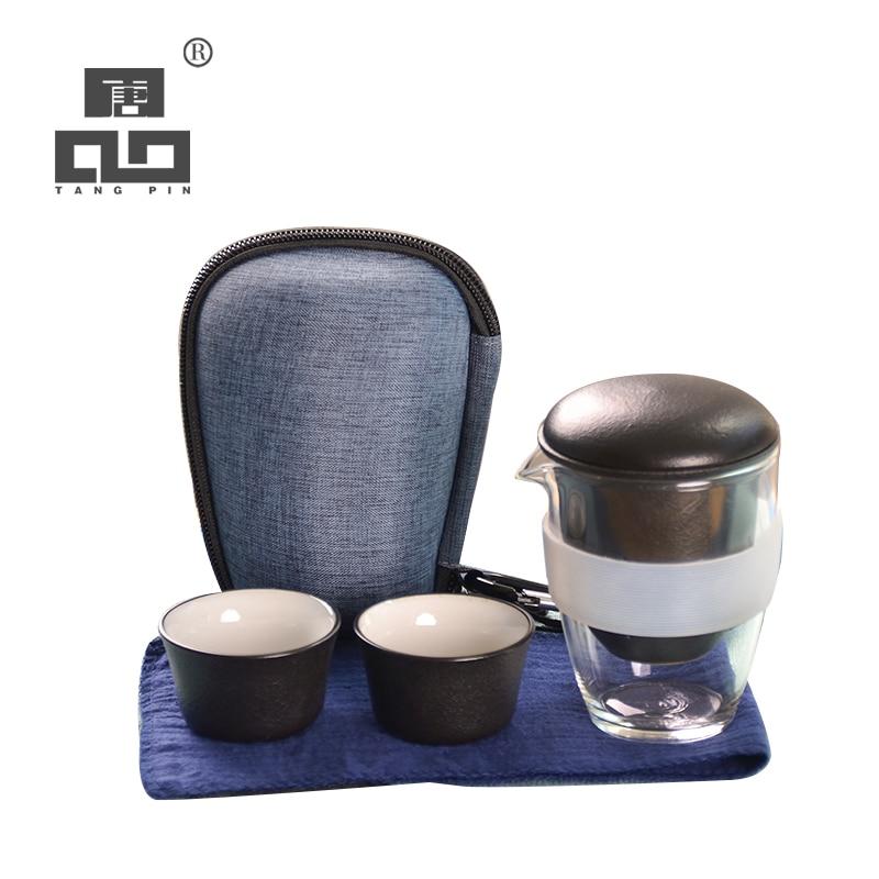 TANGPIN chinese ceramic teapot gaiwan teacups portable travel office tea set with travel bag