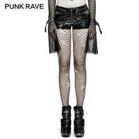 PUNK RAVE 2017 Steampunk Women Pu Leather Shorts Locomotive Rock Hollow Out Black Mini Short Pants