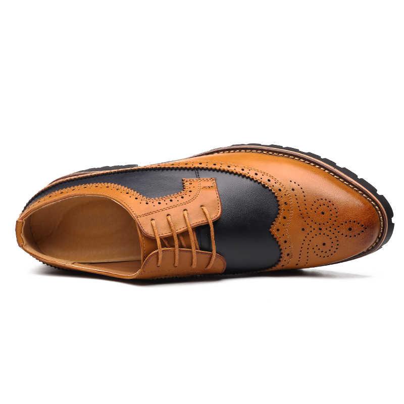 2019 Oxford รองเท้าผู้ชาย Brogues รองเท้า LACE-Up Bullock ธุรกิจงานแต่งงานรองเท้าผู้ชายรองเท้าอย่างเป็นทางการ