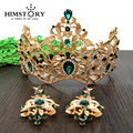 Europeu Retro Banhado A Ouro Vetiver Íris Coroa Do Cabelo Do Casamento, Strass verdes Quinceanera Pageant Tiaras de Noiva