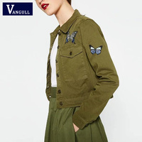 2017 Spring Army Green Jacket Flowers Butterfly Embroidered Women High Quality Basic Coats Autumn Winter New