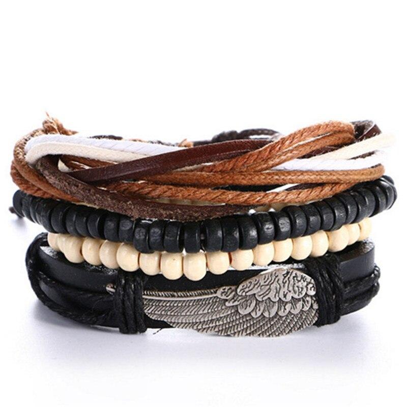 New! 4pcs 1 Set Punk Genuine Wrap Leather Bracelets Men For Women Charm Bracelets Cuff Jewelry Accessories Beads Wristband gift