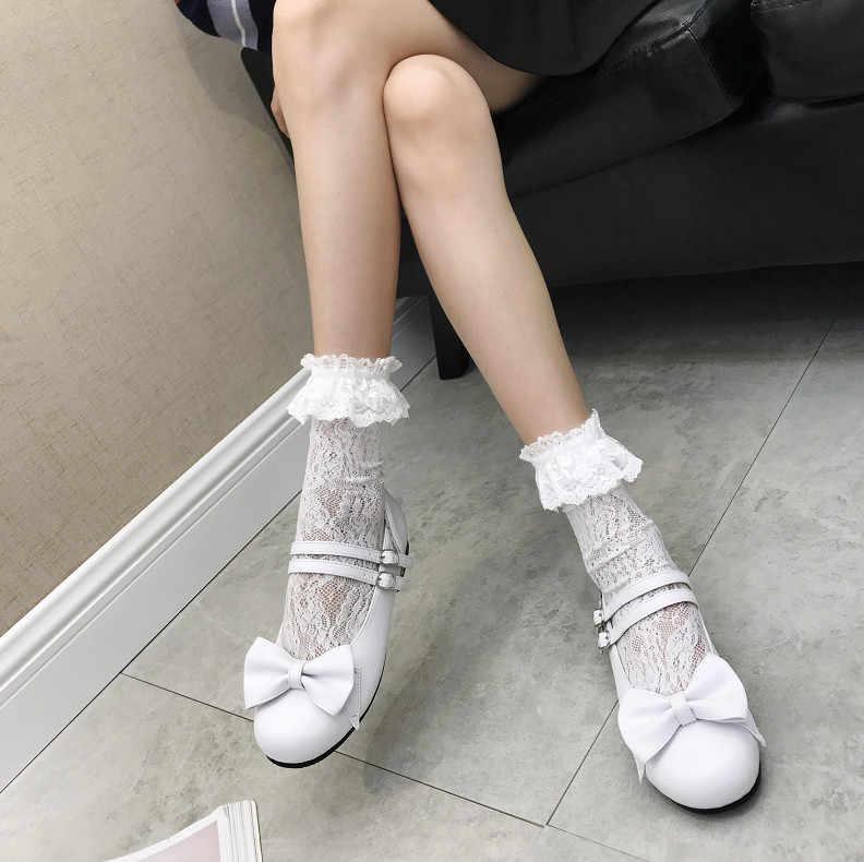 XJRHXJR Yeni Bahar Bayan Mary Jane Lolita Papyon Düz Topuk Tatlı Papyon Ayakkabı Kızlar Cosplay Siyah Beyaz Pembe Elbise Ayakkabı