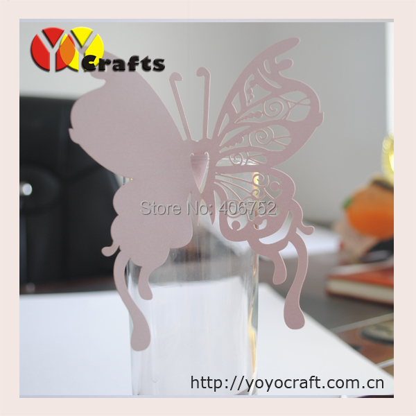 Wedding place card butterfly place card wedding wine glass name card on table ...