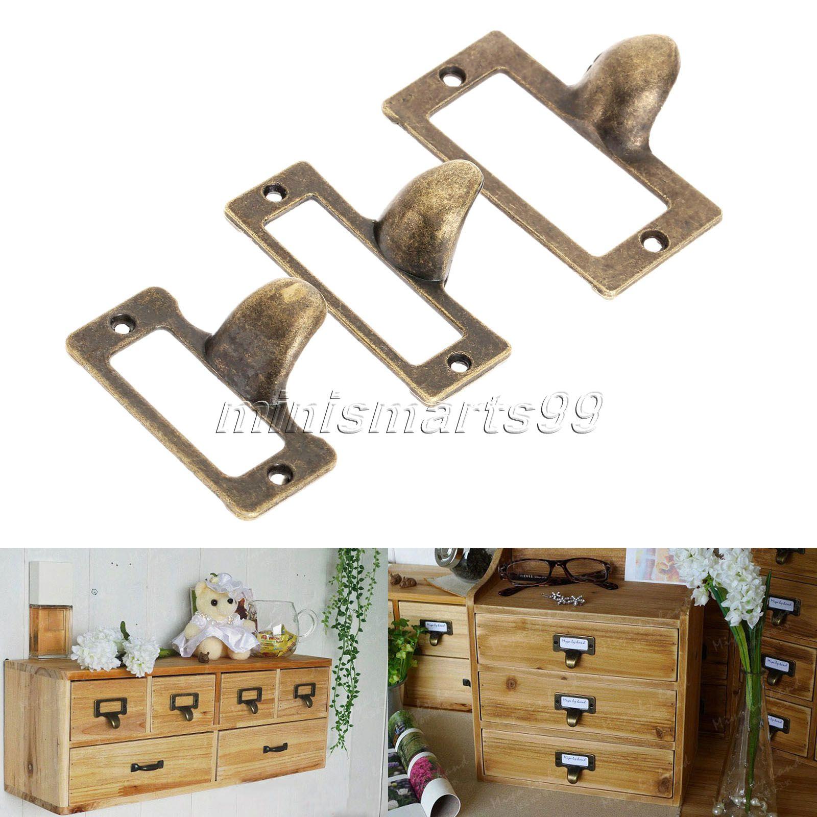 6pcs antique brass furniture handle vintage metal label pull frame handle file name card holder for brass furniture