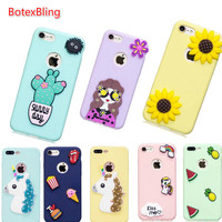 Cute Cartoon Bling Horse Sexy Girl Sunflower Soft TPU Slim Silicone Phone Case For Iphone 7