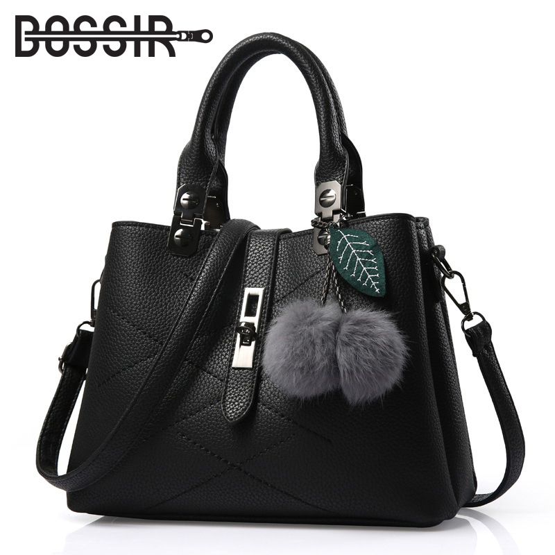 2018 New Fashion Women Tote Bag With Fur Ball PU Leather Female Handbags Top-handle Shoulder Women Messenger Bags