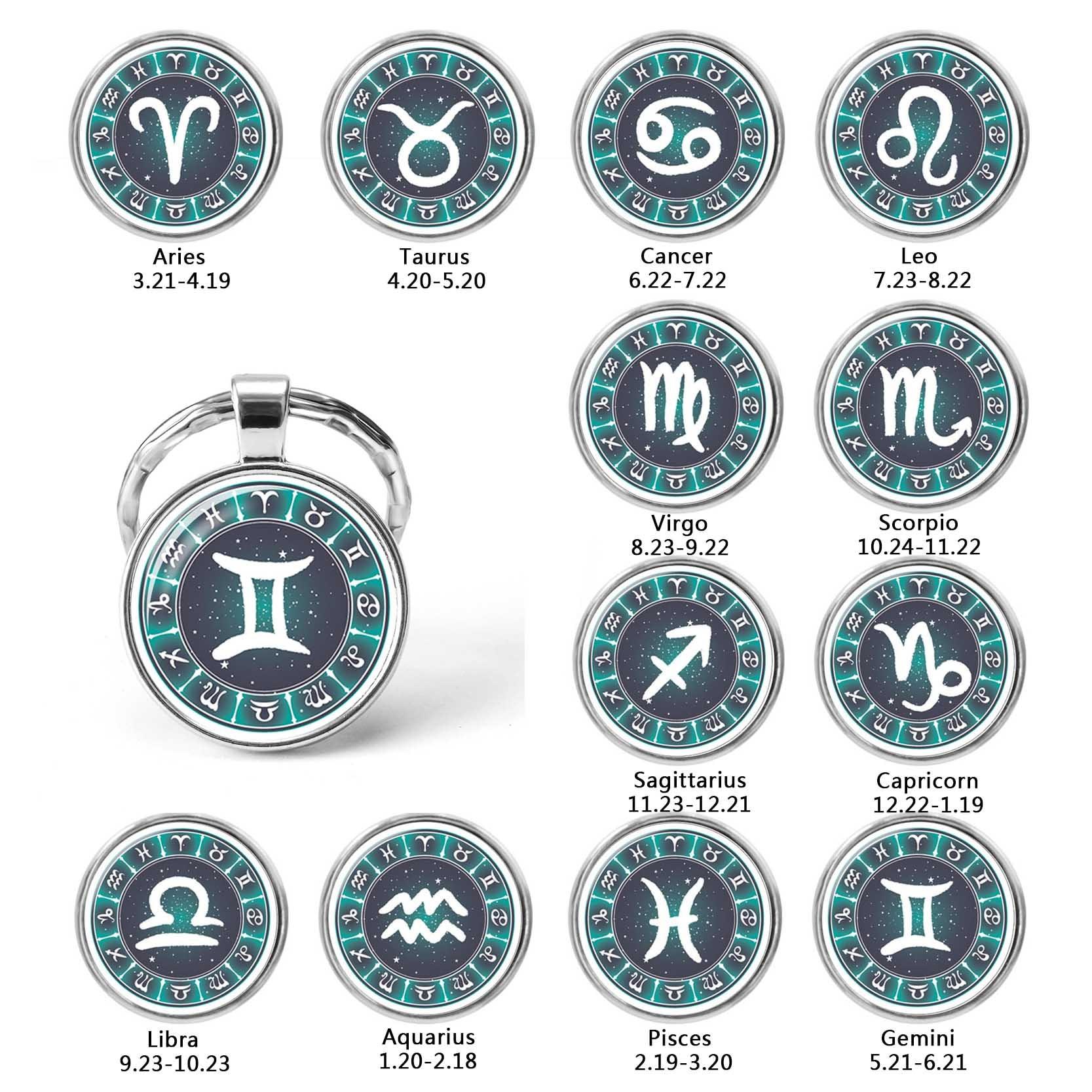 12 Constellation Leo Virgo Key Chains Glass Cabochon Pendant Zodiac Sign Key Rings Silver Plated Bag Pendant Birthday Gift