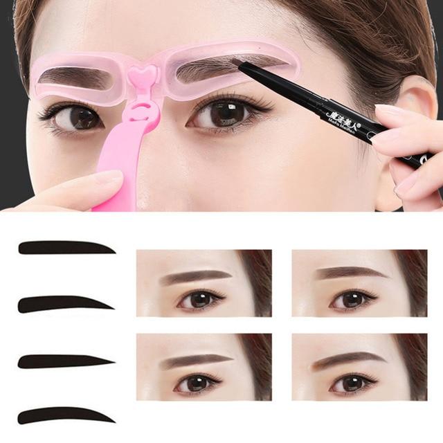 4 Pieces Reusable Eyebrow Model Template Eyebrow Shaper Defining Stencils Makeup Tools Balance Tattoo Stencil Template 5