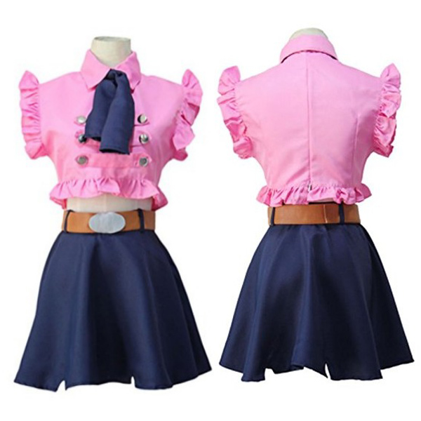 Anime The Seven Deadly Sins Elizabeth Liones Uniform Cosplay Costume Full Set Dress ( Top + Skirt + Bow Tie + Belt )