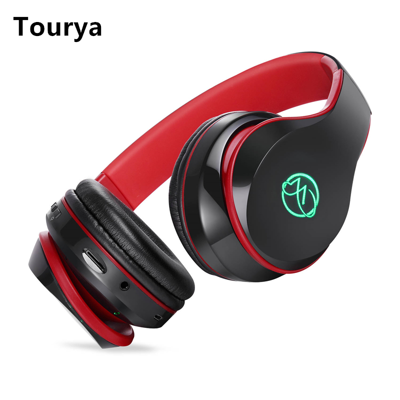 Tourya BH7 Wireless Headphones Bluetooth Headphone Glowing Headset With Mic LED Light Support TF Card For PC mobile phone xiaomi 1
