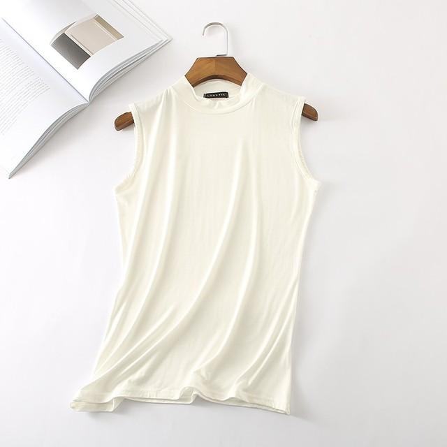 New Casual T-shirt Women Summer Tops  Sleeveless t shirt Women tshirt Sexy Turtleneck Womens Clothing Poleras De Mujer D170