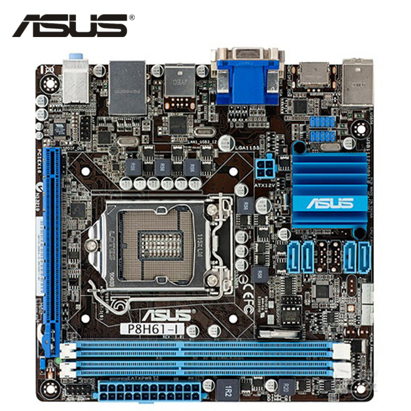 ASUS P8H61-I Motherboard LGA 1155 DDR3 16GB H61 P8H61 I Desktop Mainboard Systemboard SATA II  PCI-E X16 Built In Graphics Used