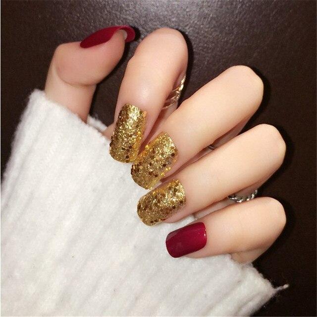 24pcs Blue ,black ,Red Matte Golden Glitter Paillette False Nails ...