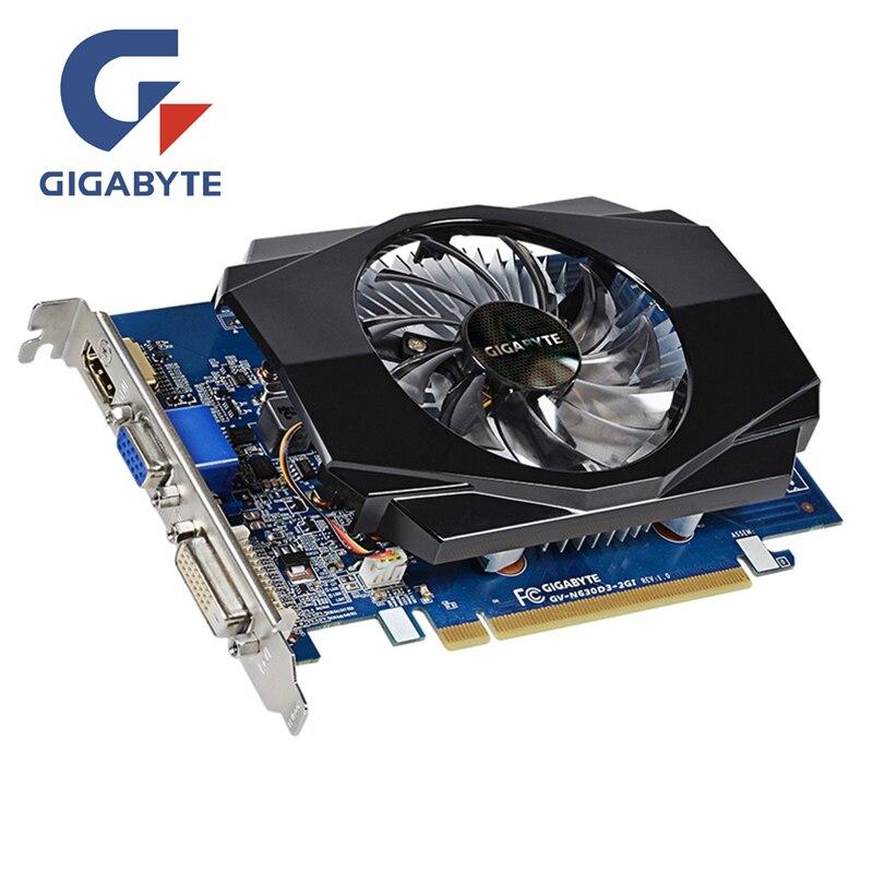 GIGABYTE GT630 2 GB GV-N630-2GI 2GD3 128Bit GDDR3 Placas Gráficas para nVIDIA Placa de Vídeo Geforce GT 630 D3 HDMI Dvi usado Placas VGA
