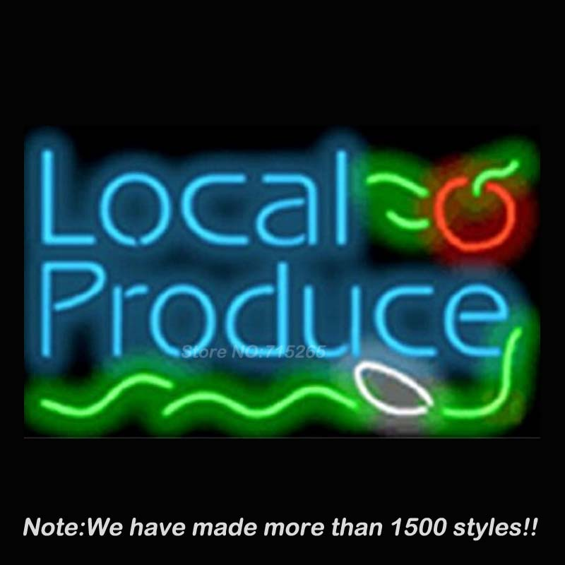 Local Produce Catering Neon Sign Neon Bulbs Store Display Glass Tube Handcraft Recreation Advertising Great Gifts 17x14