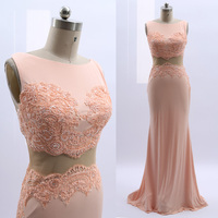 MACloth Rose Gold Sweep Train O Neck Floor Length Long Embroidery Jersey Prom Dresses Dress M 264780 Clearance
