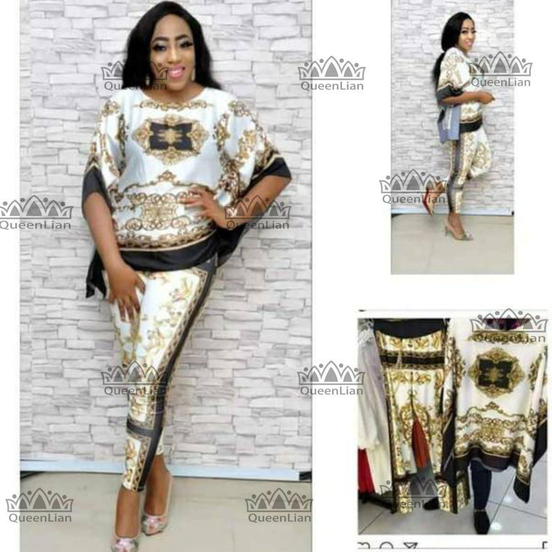 2018 African  Dashiki New  Fashion Suit (Top And Trousers) Super Elastic Party Plus Size For Lady TZBF01#
