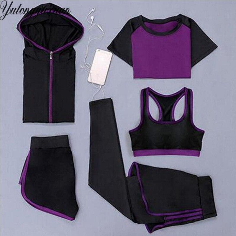 Women Yoga Running Suits Clothes Sports Set Jackets Shorts