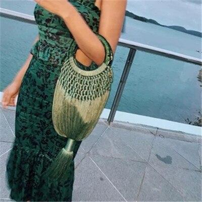 Women s Handbags Tassel Cotton Woven Straw Bag Shoulder Bag Summer Beach Holiday Straw Cross body