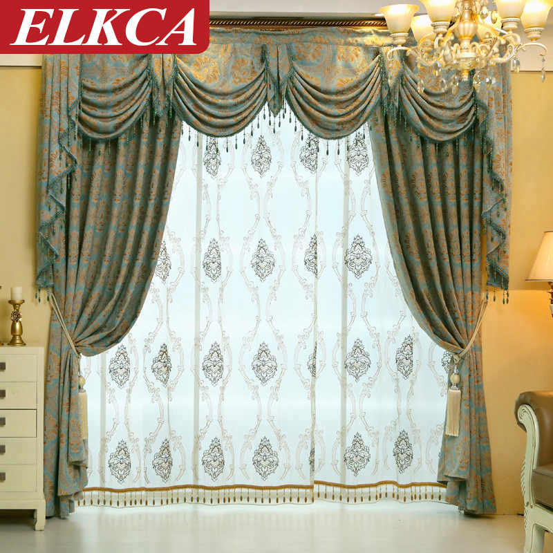 European luxury curtains for living room thick jacquard for Cortinas elegantes