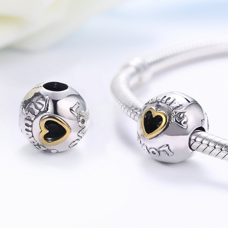 925 Sterling Silver Charm Family & Love Round Charm Beads Fit Charms Pandora Bracelets & Bangles