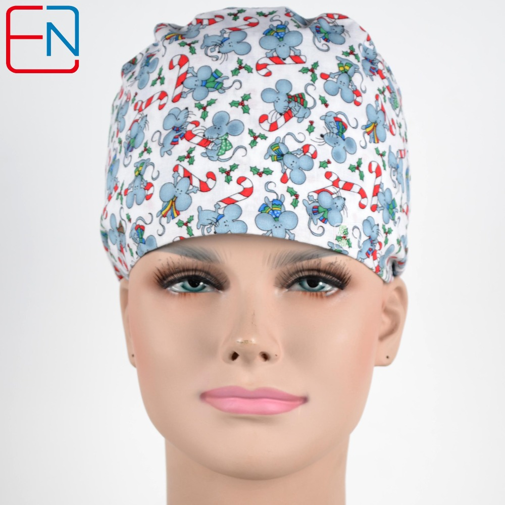 Christmas Design Scrub Caps Mask Women Hospital Medical Hats Cartoon Print Tieback Adjustable Cotton Women Surgical Caps Masks Dependable Performance