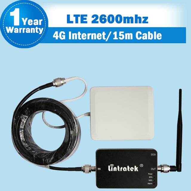 Lintratek Conjunto Completo 4G LTE FDD 2600 MHz Señal Del Teléfono Móvil repetidor 4G 2600 Teléfono Celular Amplificador Repetidor 65dB de Ganancia 2600 Para casa