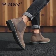 Большие размеры 38-46; мужские ботинки «Челси»; ботильоны; Модный фирменный дизайн; кожаные качественные ботинки без шнуровки в байкерском стиле; мужские теплые плюшевые ботинки PINSV