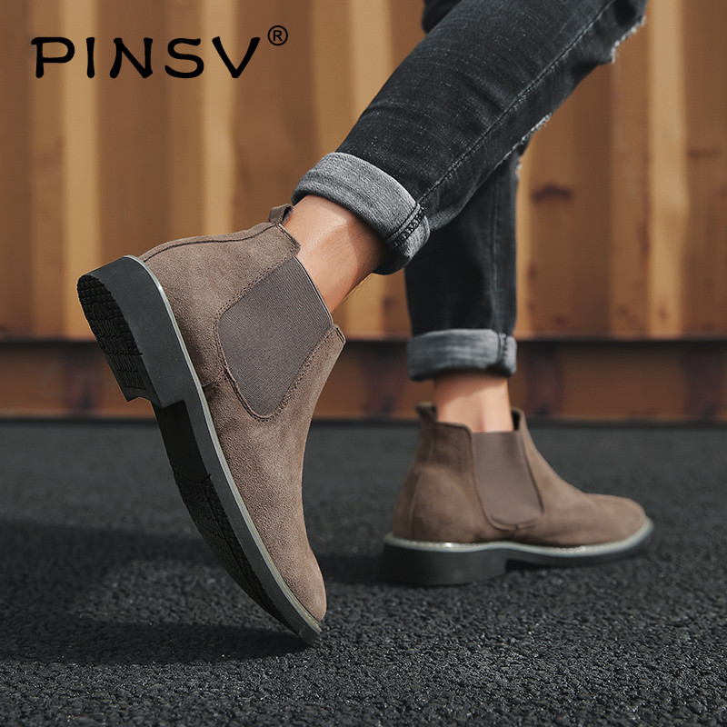 Plus Size 38 46 Men Chelsea Boots Ankle Boots Fashion Brand Design Leather Quality Slip On Motorcycle Boots Man Warm Plush PINSV