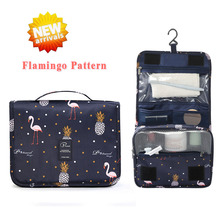 Travel Toiletry Bag, NEW Flamingo Pattern Portable Hanging Travel Wash Bag Foldable Make up Bags with Hook Organizer Bags недорого