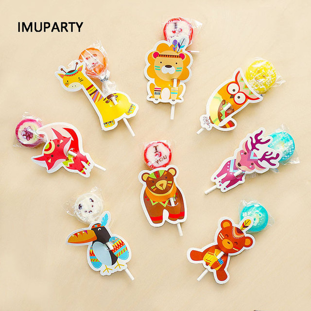 40pcs Animal Lollipop Candy Decorating Cards Jungle Theme Birthday Party Supplies Kids Handmade Packaging